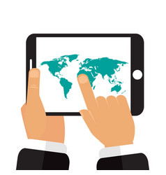 the tablet in the hands of a map of the earth vector image