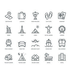 Travel and holidays icons vector