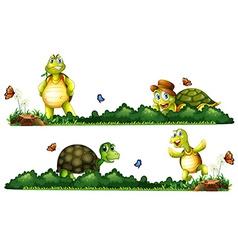 Turtles being happy in the garden vector image