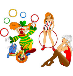 two gymnasts and a clown vector image