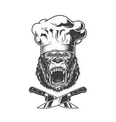 Vintage angry chef gorilla head vector