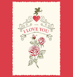 Vintage greeting card with inscription i love you vector