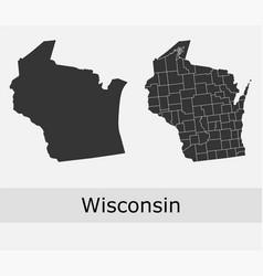 Wisconsin map counties outline vector