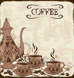 with coffee pot and cups vector image