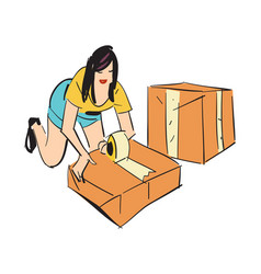 Woman packing boxes icon vector