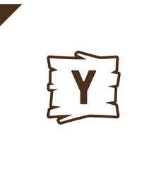 Wooden alphabet blocks with letter y in wood vector