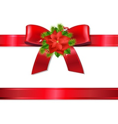 Xmas Red Ribbon And Bow vector image