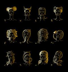 zodiac sign beautiful fashion girl hand vector image