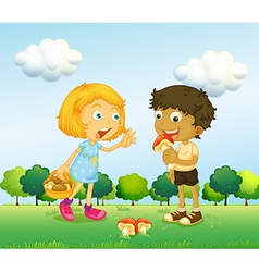 A girl and a boy picking up mushrooms vector image vector image