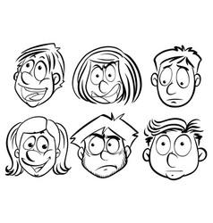 male and female faces with different emotions vector image vector image