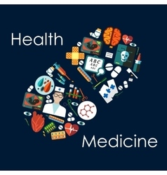 Medical flat icons arranged into a pill vector image vector image