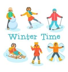 African kids play snow winter outdoor games vector