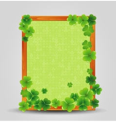 Clover on empty wooden frame vector image vector image