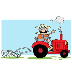 Farmer Driving A Red Tractor vector image