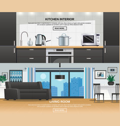 modern kitchen interior design banners vector image
