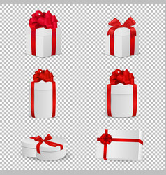 white gift box with red bow set isolated on vector image