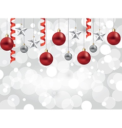 christmas white background balls stars vector image vector image
