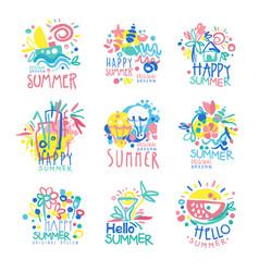 happy summer logo template original design set vector image
