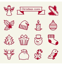 Set of Merry Christmas icons and objects vector image
