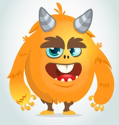 Cartoon orange fat and fluffy monster vector image vector image