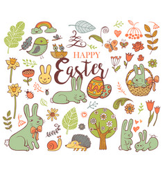 cute easter symbols vector image vector image