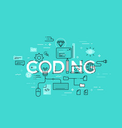 flat style thin line banner design of coding vector image