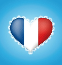 Heart shape flag of France vector image vector image