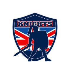 Knight with sword shield GB British Flag vector image