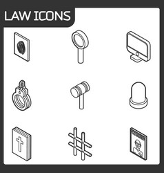 law outline isometric icons vector image vector image