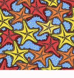 Pattern with starfish vector