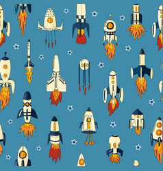 a seamless pattern rockets vector image