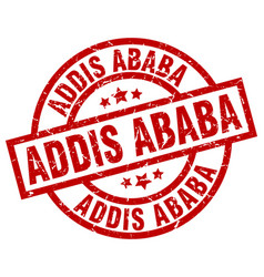 Addis ababa red round grunge stamp vector