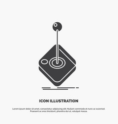 Arcade game gaming joystick stick icon glyph gray vector