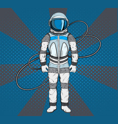astronaut in pop art style cosmonaut on blue vector image