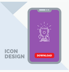 awards game sport trophies winner line icon in vector image