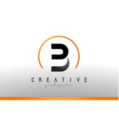 b letter logo design with black orange color cool vector image