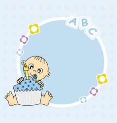 Baby boy with cake vector
