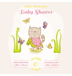 baby girl cat on a horse - shower card vector image