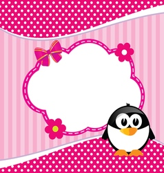Banner for children with penguin animal vector
