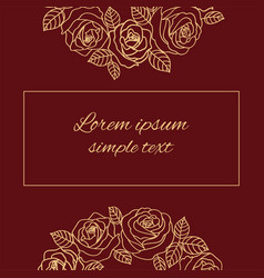 Beige outline roses greeting card vector
