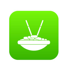 bowl of rice with chopsticks icon digital green vector image