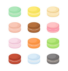 Bright macaron set with different tastes vector