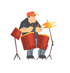 Brutal male drummer playing drums man sitting vector