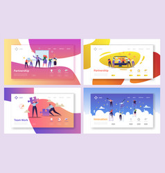 Business people teamwork innovation landing page vector