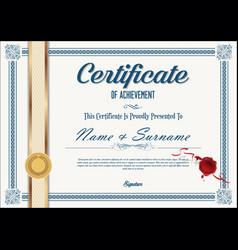 Certificate or diploma retro design template 0323 vector