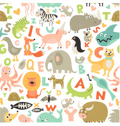 Children alphabet seamless pattern vector