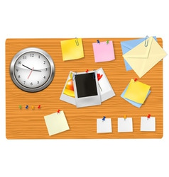 clock office supplies on the desk vector image