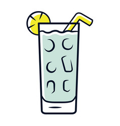 Cocktail in highball glass grey color icon summer vector