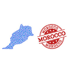 Collage map of morocco with linked points and vector
