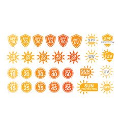 collection of spf and uv sun protection labels or vector image